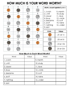 Short U sound Spelling Basic Word Work Packet