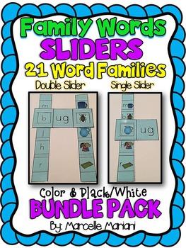 Short VOWEL CVC SINGLE & DOUBLE SLIDERS-BUNDLE PACK (21 WORD FAMILIES)