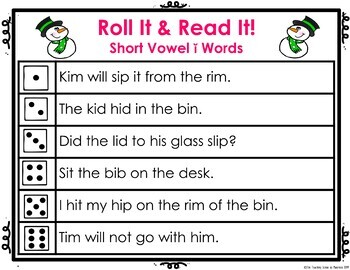 Short Vowel ĭ Roll It! Read It! Game Cards