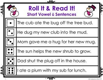Short Vowel  ŭ Roll It! Read It! Game Cards