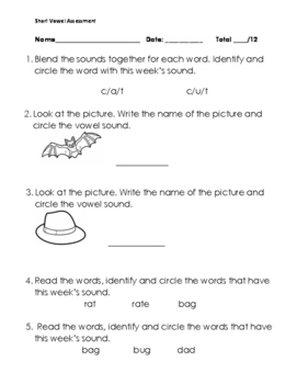 Short Vowel A Assessment