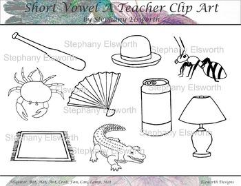 Short Vowel A Black and White Clip Art