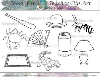 Short Vowel A Black and White Clip Art
