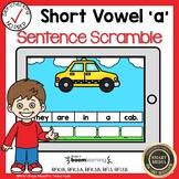 Boom Cards Short Vowel A CVC Sentence Scrambles
