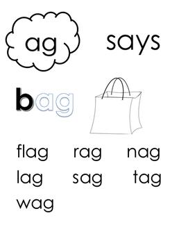 Short Vowel A Words Reading Binder