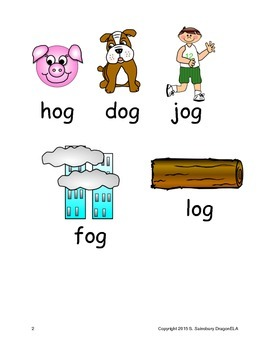 Short Vowel O Word Families Homework