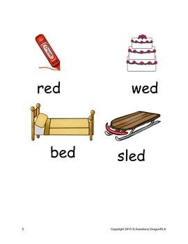 Short Vowel E Word Families Homework
