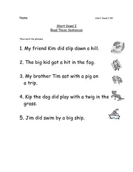 Reading Packets:1-5 Short Vowel A,I,O,U,E