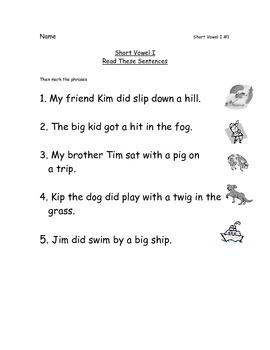 Reading Packets:1-5 Short Vowel A,I,O,U,E