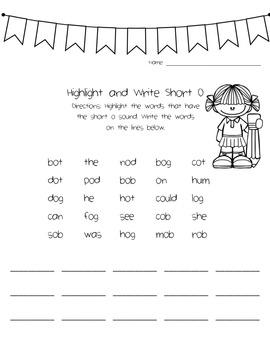 Short Vowel Activity Packet