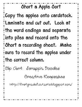 Short Vowel Apple Sort/Word Families