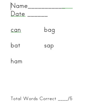 Short Vowel Assessments with Student Self Assessment Graph
