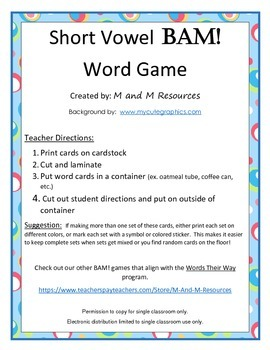 Short Vowel BAM! Game - ag eg ig og ug Words Their Way sort #30