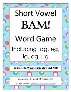 Short Vowel BAM! Game - ag eg ig og ug Words Their Way sort #30