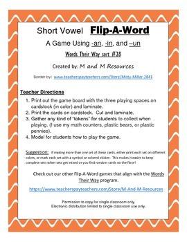 Flip-A-Word  Short Vowel Game - an-un-in Words Their Way sort #28