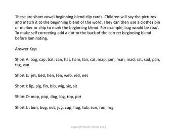 Short Vowel Beginning Blends
