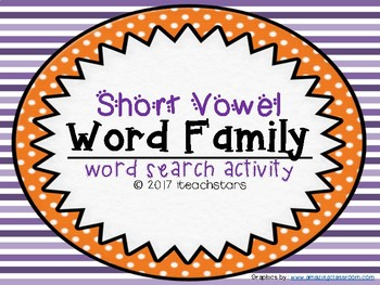Short Vowel Word Family Beginning Word Searches