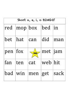 Short Vowel Bingo!