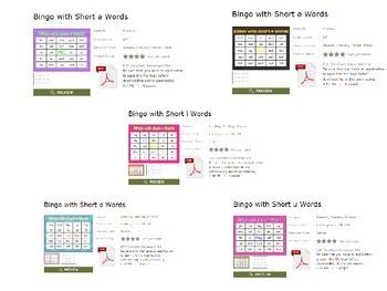 Short Vowel Bingo BUNDLE