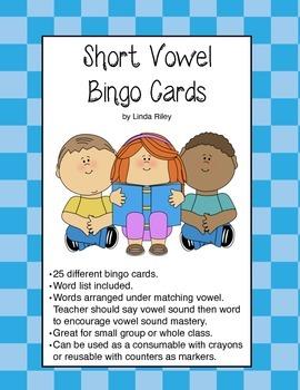 Short Vowel Bingo Cards