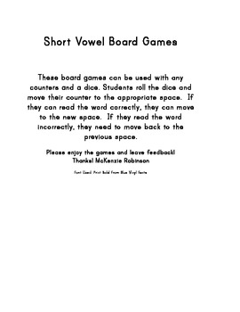 Short Vowel Board Games