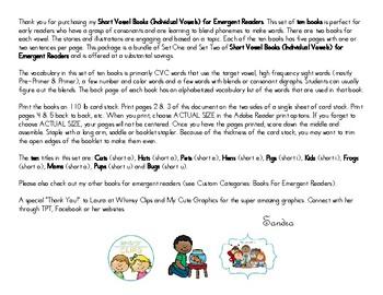 Short Vowel Books - Short Vowel Readers - Emergent Readers (Set of 10)