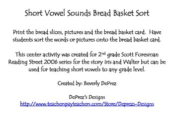 Short Vowel Bread Basket Sort Center Reading Street Grade 2 Iris and Walter