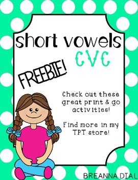Short Vowel CVC Activities Freebie