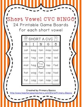Short Vowel CVC BINGO Bundle