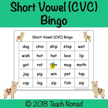 Short Vowel Mixed Vowels (CVC) Phonics Bingo - Llama Theme