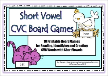 picture relating to Printable Short Vowel Games named Shorter Vowel CVC Board Video games by means of Video games 4 Understanding TpT