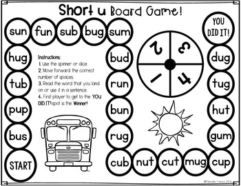 CVC Short Vowel Board Games- Black and White