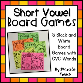 CVC Short Vowel Board Games- Black and White