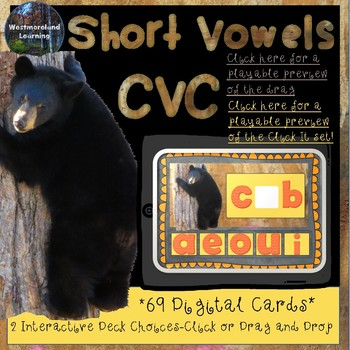 Short Vowel CVC Interactive Digital Boom Cards 68 Card Deck