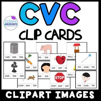 CVC Short Vowel Clip Cards- SPED/AUTISM/ELEMENTARY