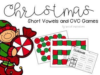 Short Vowel CVC Literacy Centers (Christmas Themed)