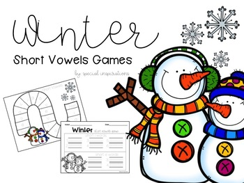 Short Vowel & CVC Literacy Centers (Winter Themed)