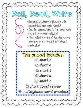 Short Vowel CVC PHONICS bundle!! Roll, Read, and Write