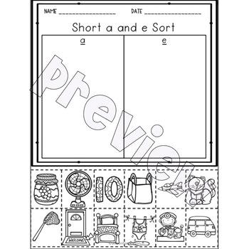 Short Vowel CVC Picture Sort Worksheets