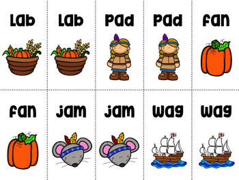 Short Vowel CVC Playing Cards {Thanksgiving Themed}