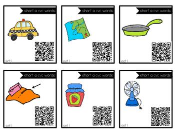 Short Vowel CVC Task Cards with QR Codes for Self-Correcting BUNDLE