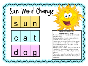 Short Vowel CVC Word Change Board Game