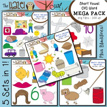 Short Vowel CVC Word Clip Art MEGA Pack {Save $4 by Purchasing 5 Sets in 1!}