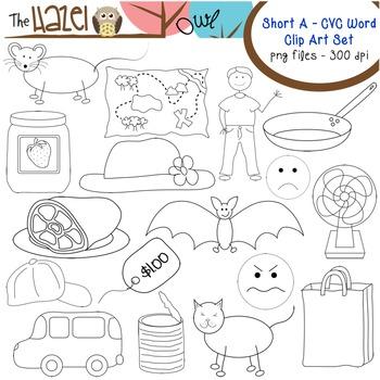 Short Vowel CVC Word Clip Art - Short a Vowel Sound Set