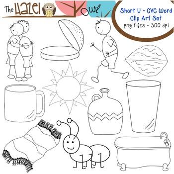 Short Vowel CVC Word Clip Art - Short u Vowel Sound Set