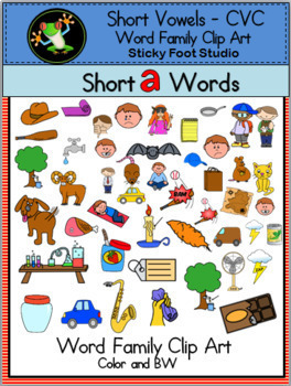 Short Vowel CVC Word Family Clip Art Bundle (235 graphics)