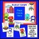 Short Vowel CVC Word Game - Robot SWIPE {EDITABLE}