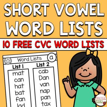 Short Vowel CVC Word Lists - FREEBIE