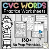 Short Vowel CVC Word Practice Worksheets and Printable Activities