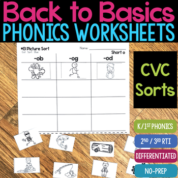 Short Vowel CVC Word Sort Worksheets (No-Prep Phonics Worksheets)